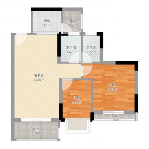 碧桂园荔园2室2厅2卫1厨63.00㎡户型图