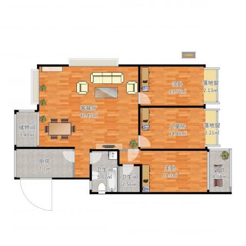 福林苑小区3室2厅2卫1厨132.00㎡户型图