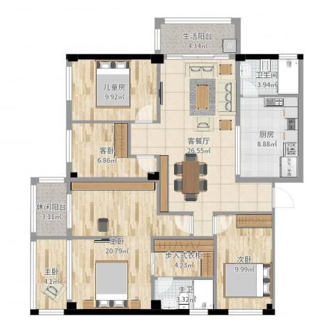 春鸿居5室2厅1卫1厨130.00㎡户型图