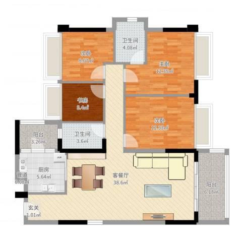 新长江顺心居4室2厅2卫1厨124.00㎡户型图