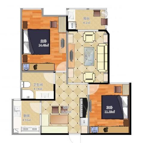 我家山水瑞雪苑2室2厅1卫1厨79.00㎡户型图