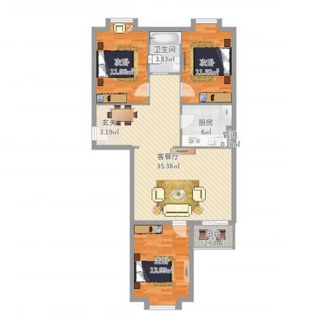 西马庄园3室2厅1卫1厨106.00㎡户型图