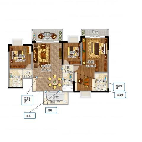 海宇西湖山水3室2厅3卫1厨164.00㎡户型图