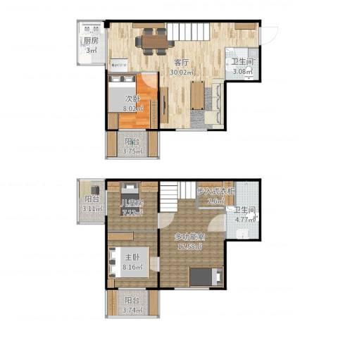 鸿盛春天3室1厅2卫1厨119.00㎡户型图