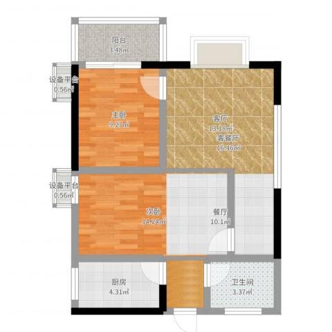 旺园大厦2室2厅1卫1厨68.00㎡户型图