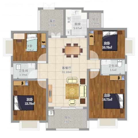 书香门第4室2厅2卫1厨139.00㎡户型图