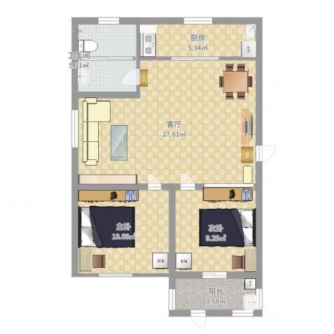 华安东方明珠2室1厅1卫1厨77.00㎡户型图