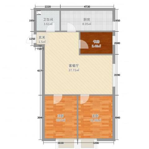 南华中环广场3室2厅1卫1厨101.00㎡户型图