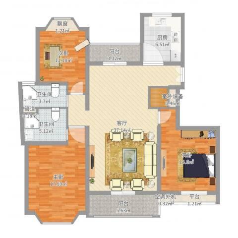郁庭峰3室1厅2卫1厨135.00㎡户型图