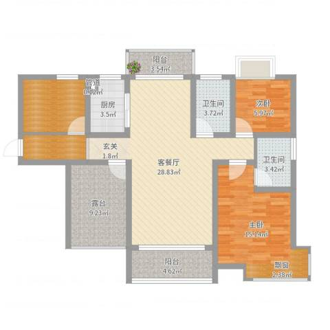 富盈香茶郡2室2厅2卫1厨109.00㎡户型图