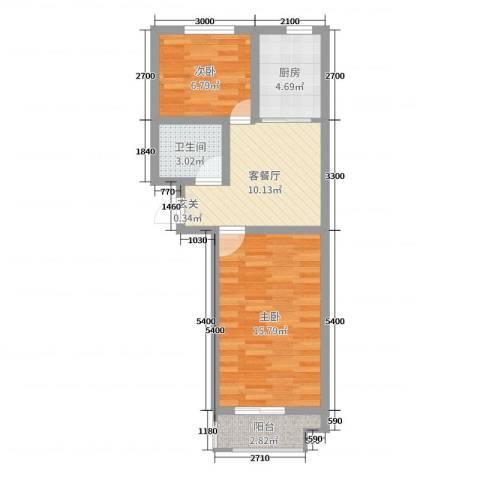 山海宜家2室2厅1卫1厨60.00㎡户型图