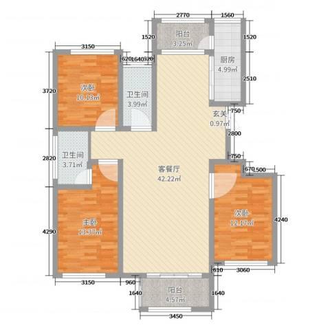 温莎玫瑰公馆3室2厅2卫1厨123.00㎡户型图