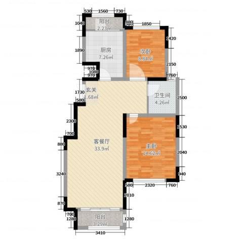 温莎玫瑰公馆2室2厅1卫1厨93.00㎡户型图