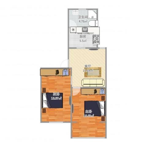 金杨新村2室1厅1卫1厨70.00㎡户型图