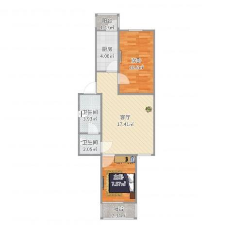 海子角东里2室1厅2卫1厨62.00㎡户型图