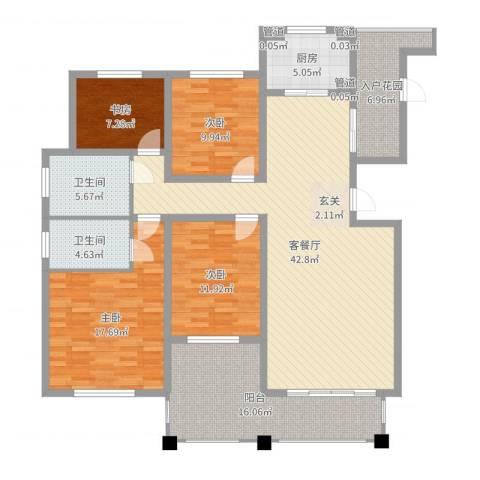 绿地泰晤士新城4室2厅2卫1厨160.00㎡户型图
