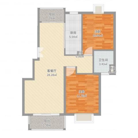 远景佳苑三期2室2厅1卫1厨82.00㎡户型图