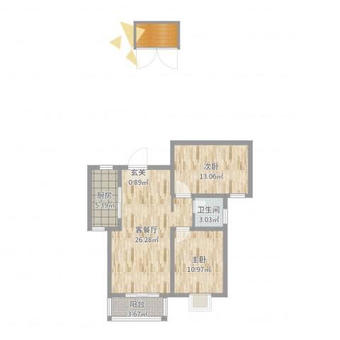万豪华庭公馆2室2厅1卫1厨83.00㎡户型图
