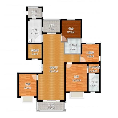 中房颐园4室2厅2卫1厨151.00㎡户型图