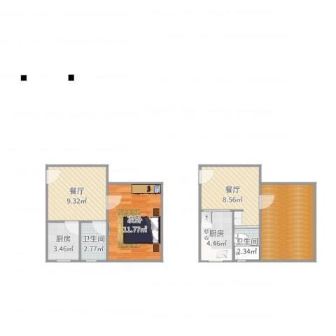 桂平小区1室2厅2卫2厨68.00㎡户型图