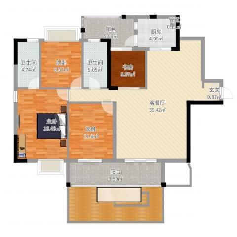 星湖八号4室2厅2卫1厨159.00㎡户型图