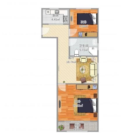 逸仙一村2室1厅1卫1厨74.00㎡户型图