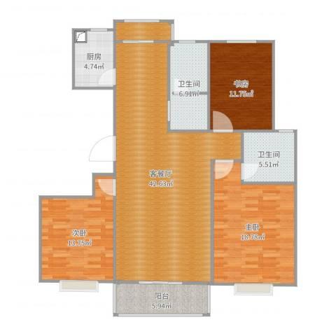 公安小区3室2厅2卫1厨150.00㎡户型图