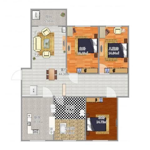 相公吉祥苑3室1厅2卫1厨157.00㎡户型图