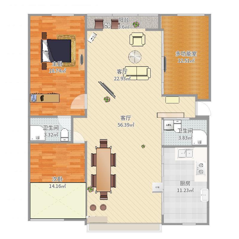 141㎡三室两厅户型图
