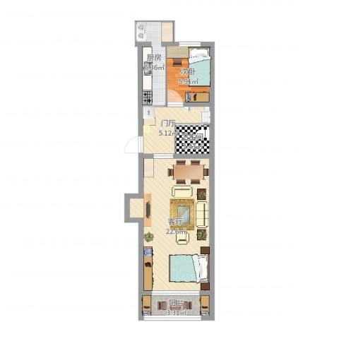 果园小区1室1厅1卫1厨56.00㎡户型图