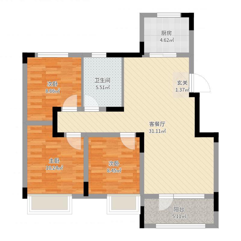 美的城100.00㎡D户型3室3厅1卫1厨户型图
