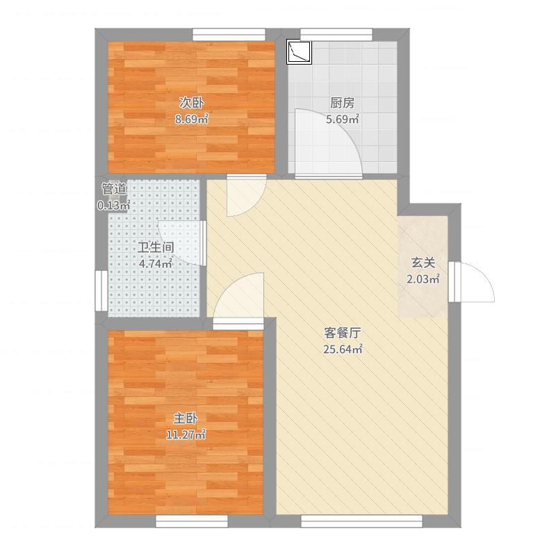 置信・澜悦东方85.86㎡H户型2室1厅1卫1厨-副本户型图