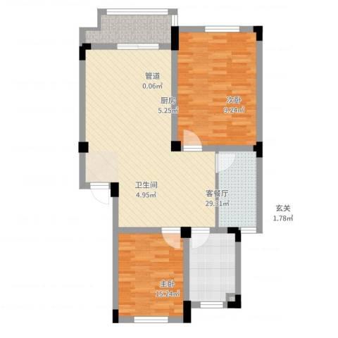 安天国际城2室2厅1卫1厨97.00㎡户型图