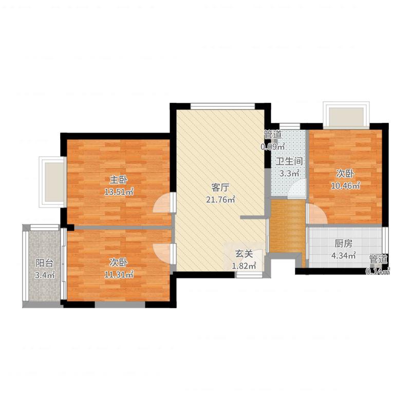 隆兴宜居11.64㎡8户型3室2厅1卫1厨户型图