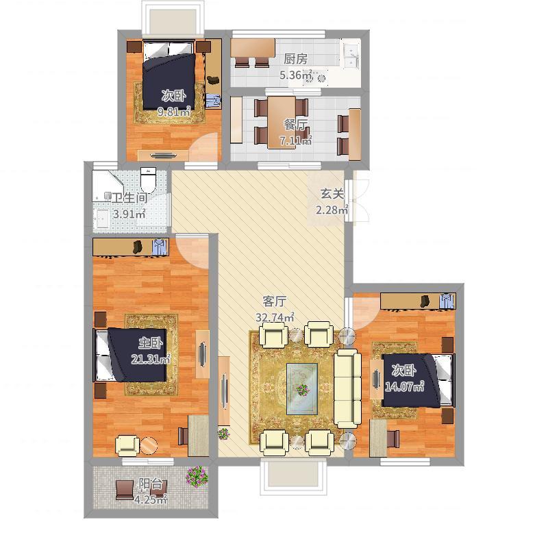 吕梁宏泰御花园125.20㎡户型3室2厅2卫1厨户型图