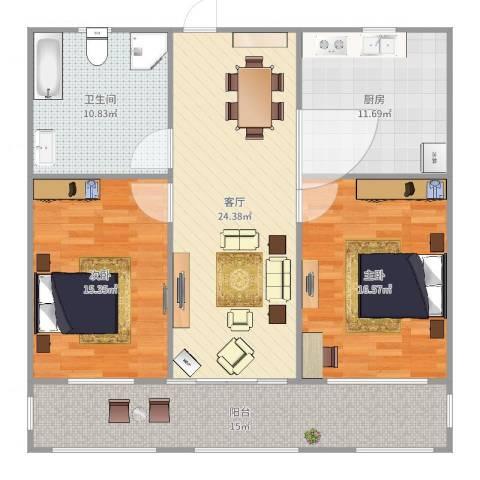 鸿建花园2室1厅1卫1厨117.00㎡户型图