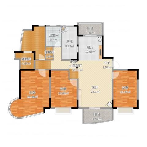 嘉禾现代城3室2厅1卫1厨181.00㎡户型图
