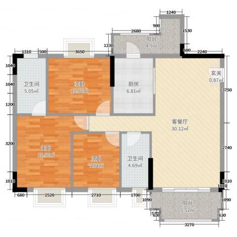 阳光粤港三期3室2厅2卫1厨108.00㎡户型图