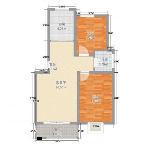 世纪尊园2室2厅1卫1厨80.00㎡户型图