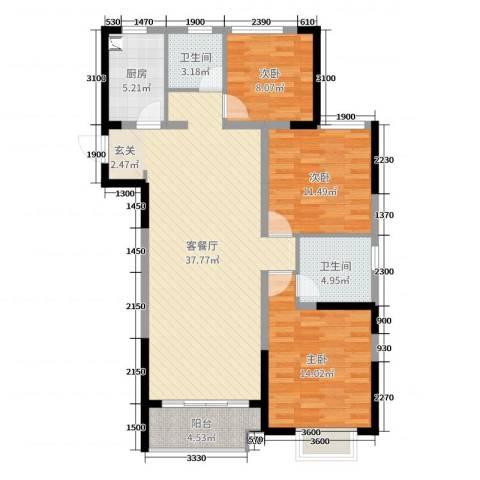 民生・瞰江郡3室2厅2卫1厨123.00㎡户型图