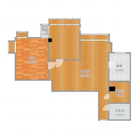 华怡花园7061室2厅1卫1厨93.00㎡户型图