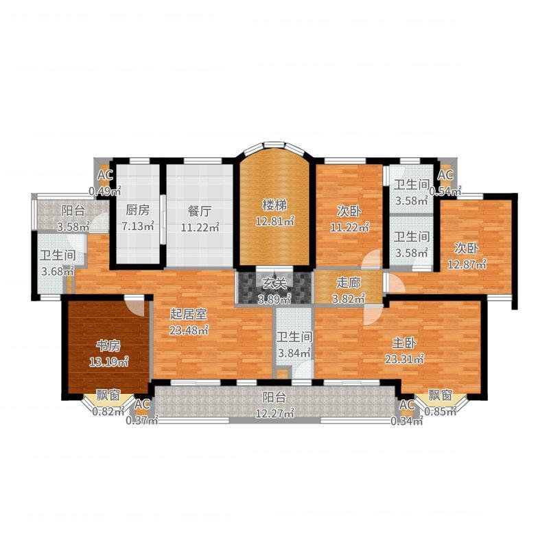 三盛颐景园五期S户型5室2卫户型图