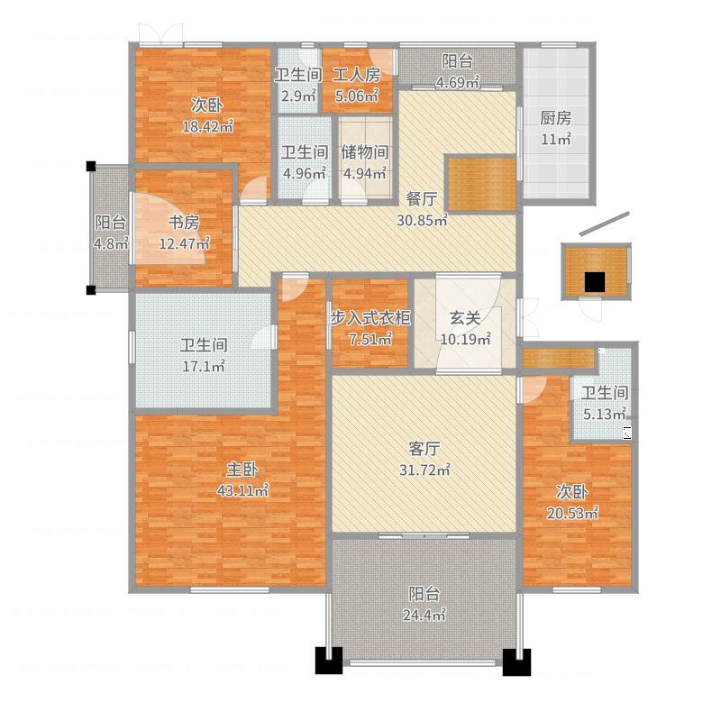 176方港式奢华四居室-副本户型图