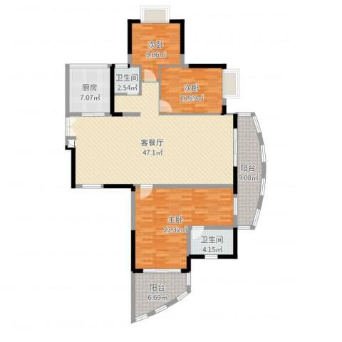 芳邻雅居3室2厅2卫1厨150.00㎡户型图