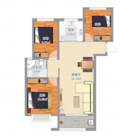 东方御景湾小区3室2厅1卫1厨97.00㎡户型图