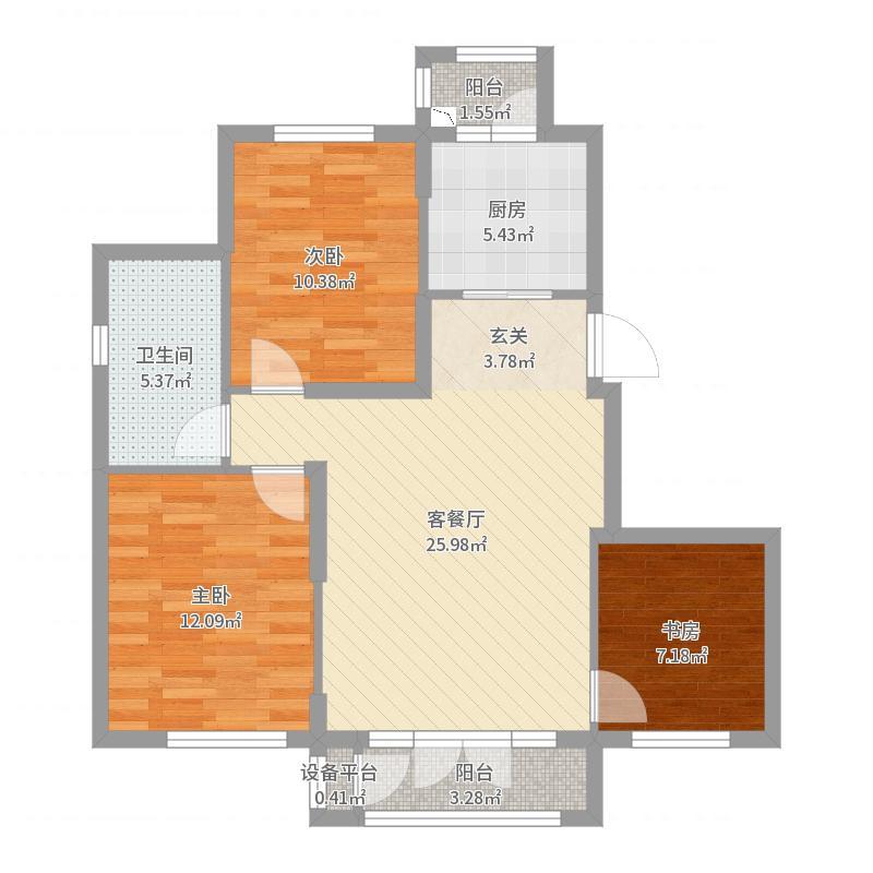未来城93.00㎡A2区4#楼B户型3室3厅1卫1厨户型图
