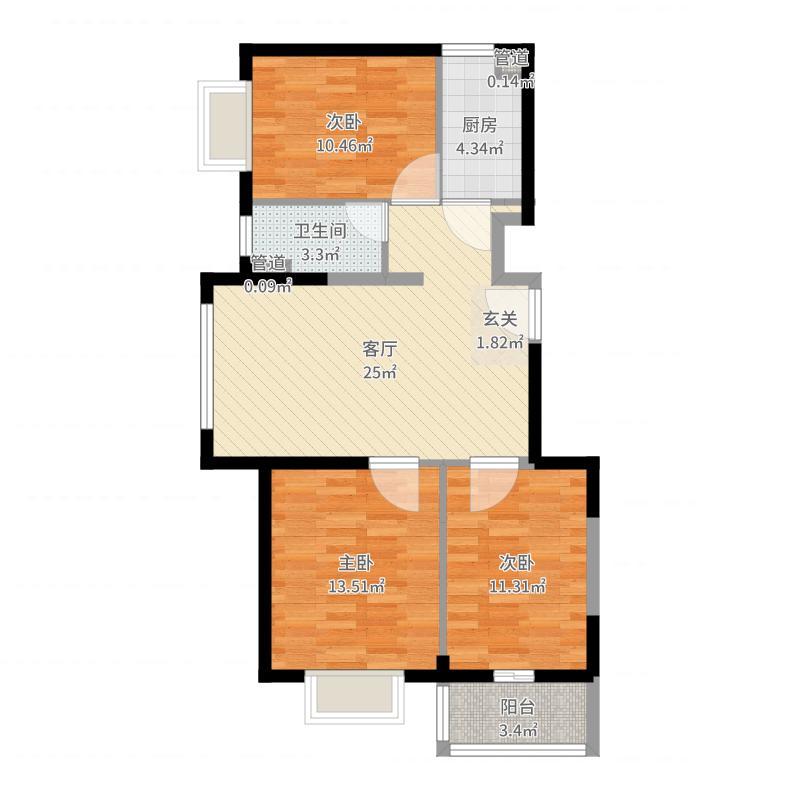 隆兴宜居11.64㎡8户型3室2厅1卫1厨-副本户型图