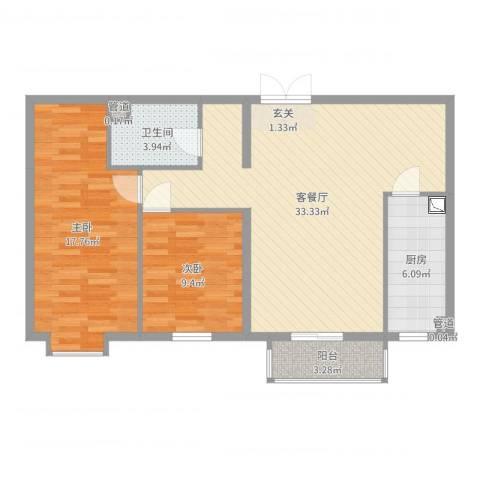 名购广场2室2厅1卫1厨93.00㎡户型图