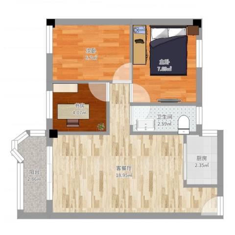 天平架三汽宿舍3室2厅1卫1厨57.00㎡户型图