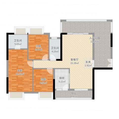 胜球阳光花园三期3室2厅2卫1厨136.00㎡户型图